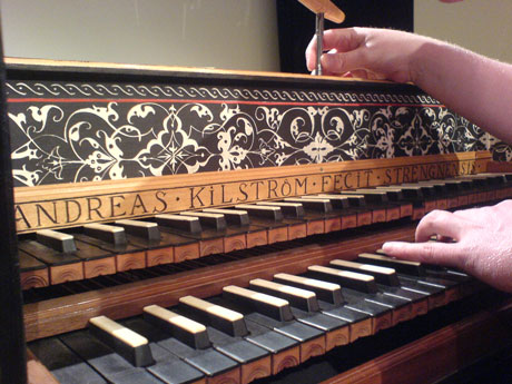 Tuning a double-manual harpsichord for a concert by the Hanover Band.