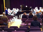 Rehearsal in progress at the Civic Hall, Stratford - Orchestra of the Swan with pianist Huw Watkins
